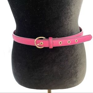 Cole Haan Pink Brass Silver Buckle Leather Belt